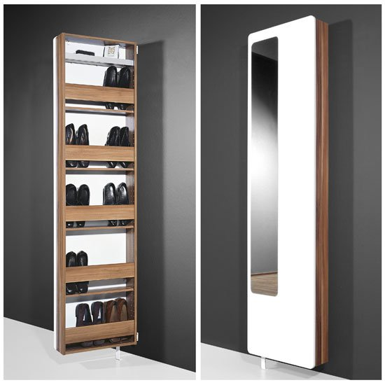 Cabinets White Hi-Gloss Rotating Shoe Storage with Mirror, 1186-94