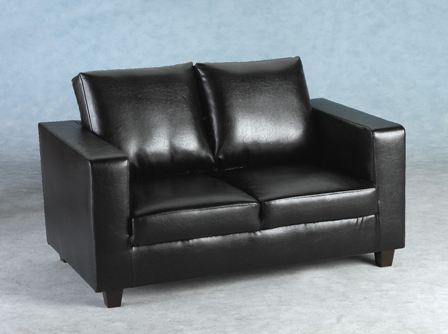Tempo Two Seater Sofa In A Box Made Of Faux Leather(black