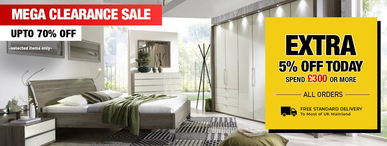 Largest warehouse clearance sale on bedroom furniture sets, beds & wardrobes. Up to 70% off discounts