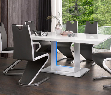 Decorate your dining room with beautiful dining table and chairs sets in glass, marble & high gloss.