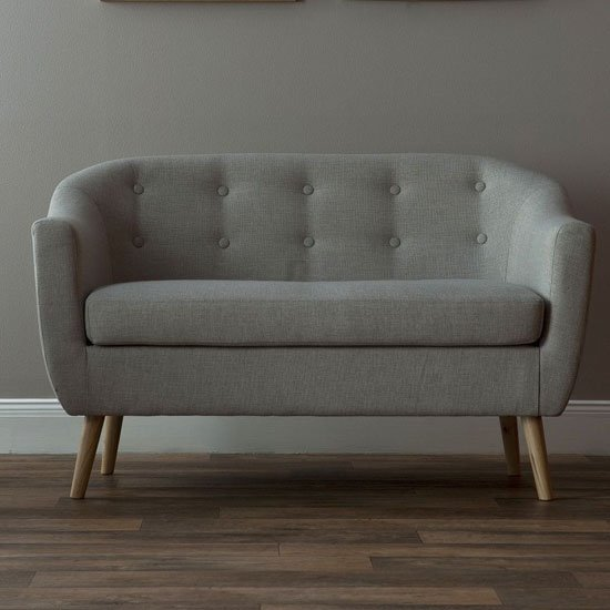 Image of Felio 2 Seater Sofa In Natural Fabric With Wooden Legs