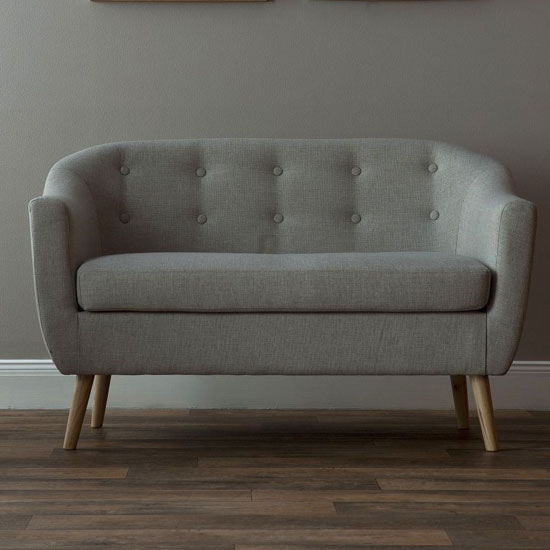 Felio 2 Seater Sofa In Natural Fabric With Wooden Legs