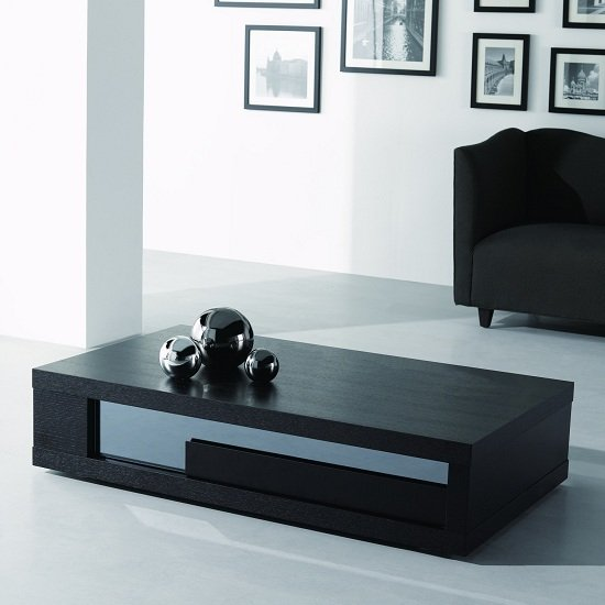 Fluoro Coffee Table Square In Matt White With Black Metal Le: Andrea Coffee Table In Black Wood With Glass Inserts