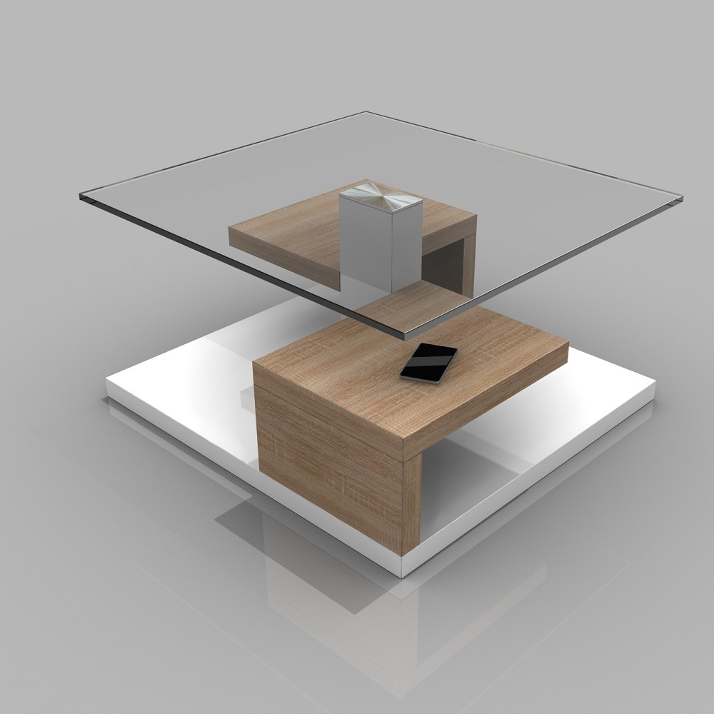 Sara Clear Glass Coffee Table With Gloss White And Oak Base