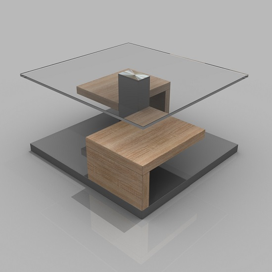 Glass Oak Coffee Table Uk: Sara Clear Glass Coffee Table With Gloss Grey And Oak Base
