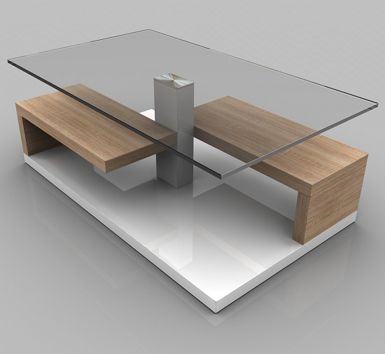 Tim Clear Glass Coffee Table With White Gloss And Oak Base