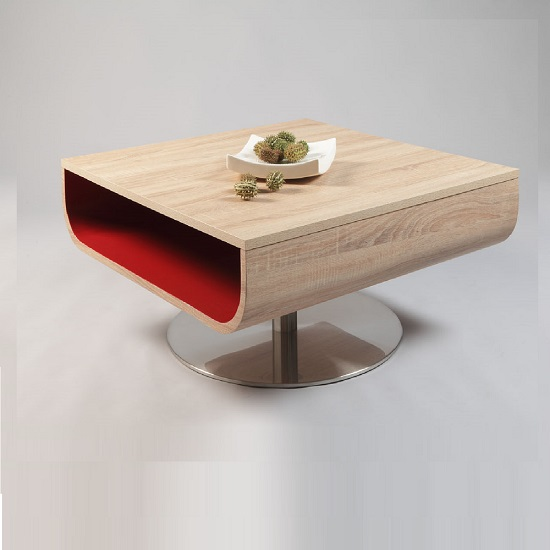Lea Wooden Coffee Table In Sanoma Oak With Shelf