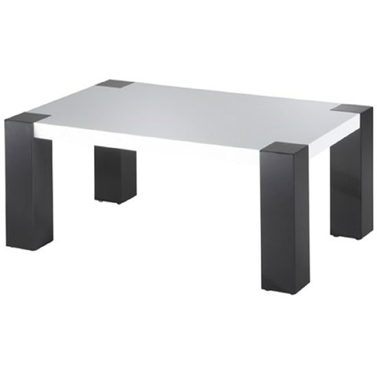 Antonio White High Gloss Coffee Table With High Gloss Black Legs