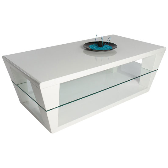 Dani White High Gloss Coffee Table With Glass Shelf