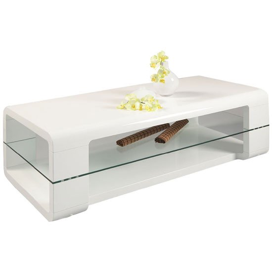 Danny White High Gloss Coffee Table With Glass Shelf