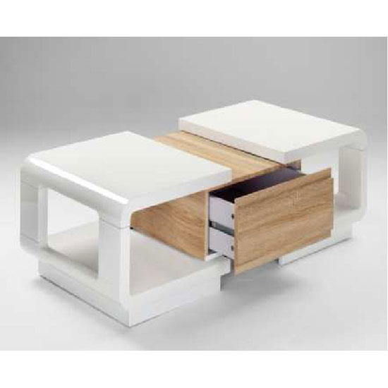 Verona Extendable High Gloss Coffee Table In White: Anka Extendable White High Gloss Coffee Table With Drawer