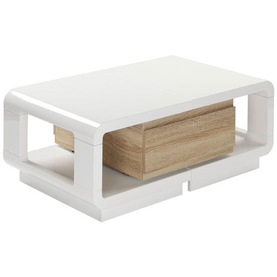 Anka Extendable White High Gloss Coffee Table With Drawer