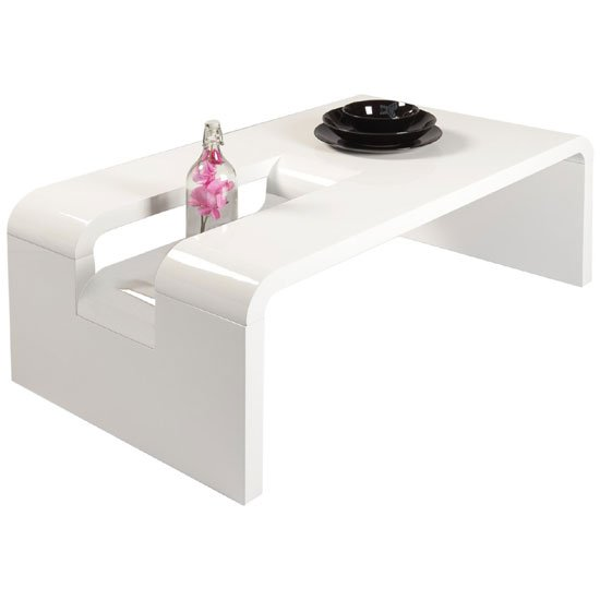 Jana Rectangular Coffee Table In White High Gloss