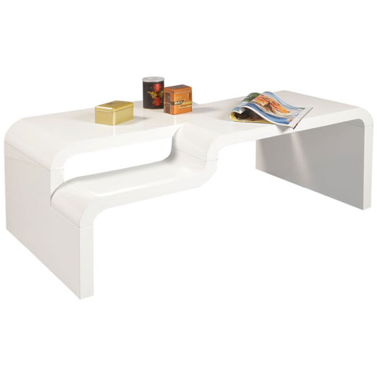 Pedro Rectangular Coffee Table In White High Gloss