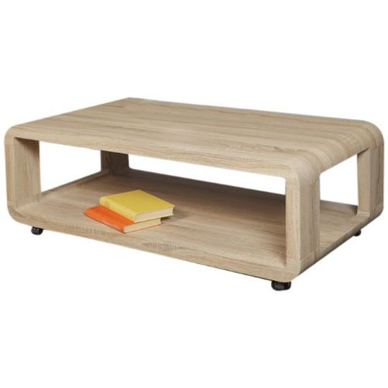 Alina I Sonoma Oak Finish Coffee Table With Undershelf Buy Wooden Coffee Table Furniture In