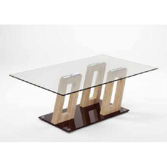 Ferris Sonoma Oak Clear Glass Top Coffee Table With Glass Base