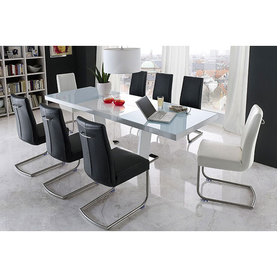 Manhattan Extendable High Gloss Dining Table With 8 Flair Chairs