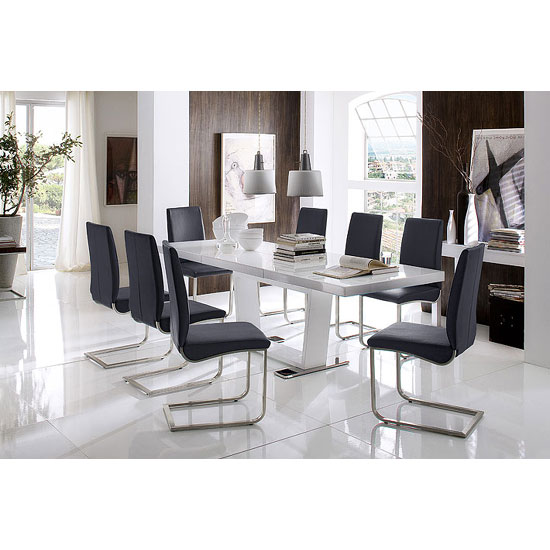 Manhattan extendable high gloss dining table with 8 lotus for 8 seater dining room sets