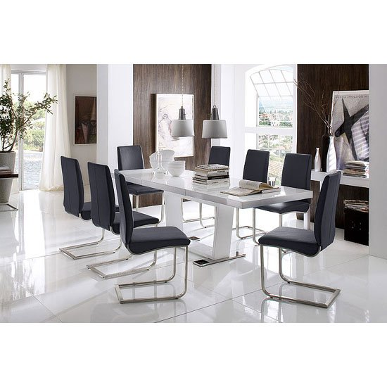 Manhattan Extendable High Gloss Dining Table With 8 Lotus Chairs