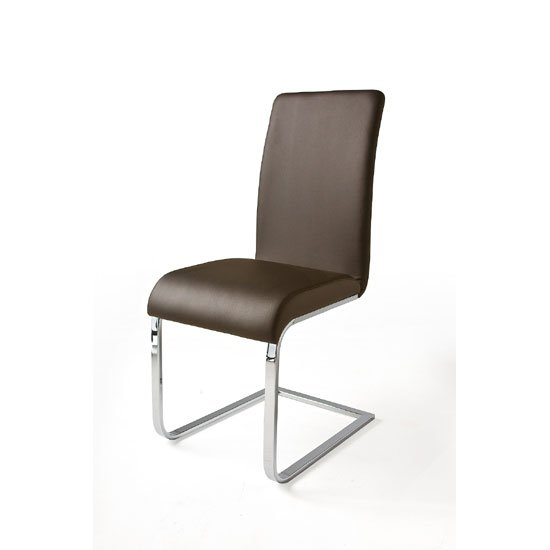 Lotte I Metal Swinging Brown Faux Leather Dining Chair