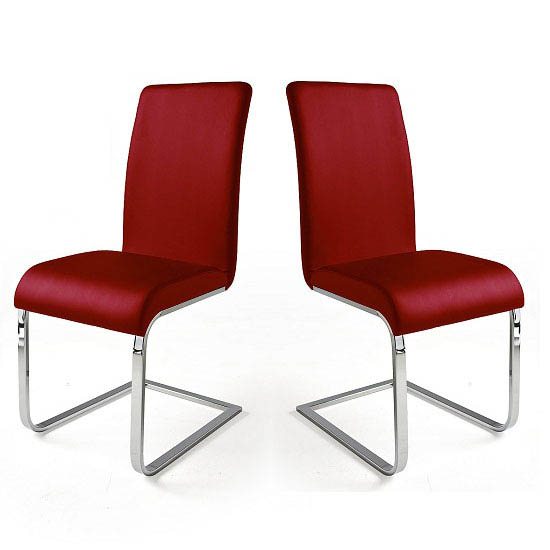 Lotte I Red Faux Leather Dining Chair In A Pair