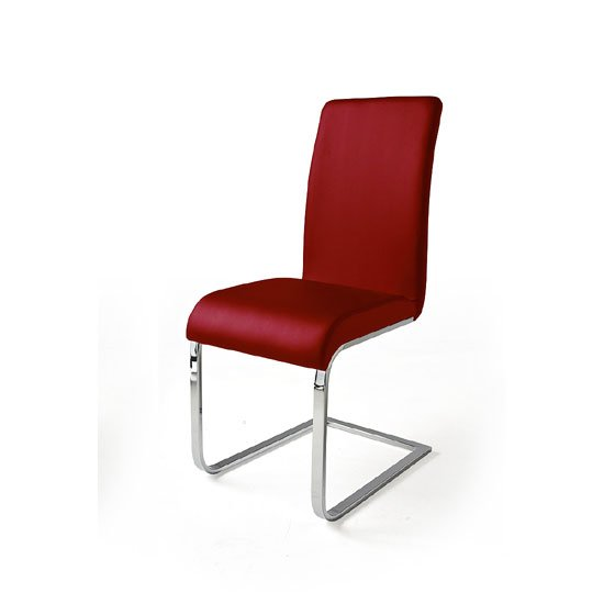 Lotte I Metal Swinging Red Faux Leather Dining Chair