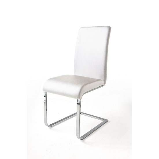 Lotte I Metal Swinging White Faux Leather Dining Chair