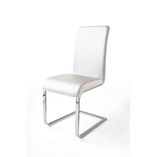 Read more about Lotte i metal swinging white faux leather dining chair