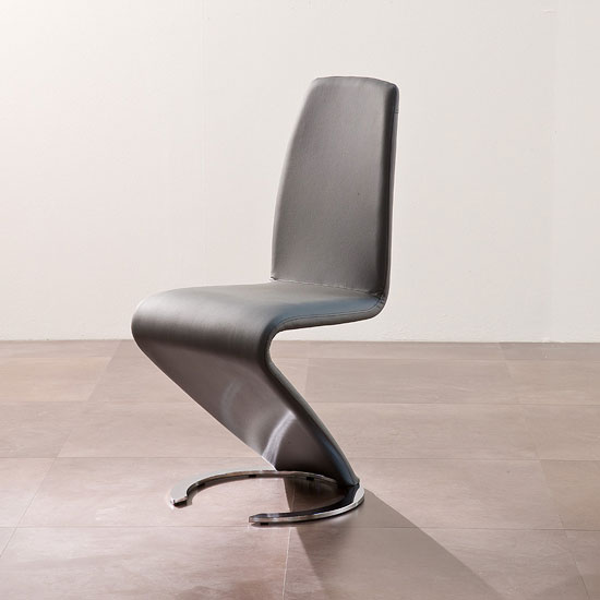 Read more about Swing ii metal swinging grey real leather dining chair