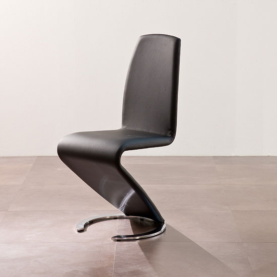 Read more about Swing ii metal swinging black real leather dining chair