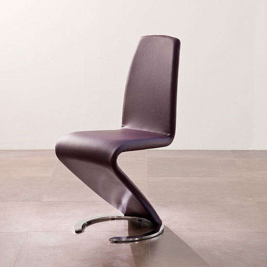 Swing II Metal Swinging Violet Real Leather Dining Chair