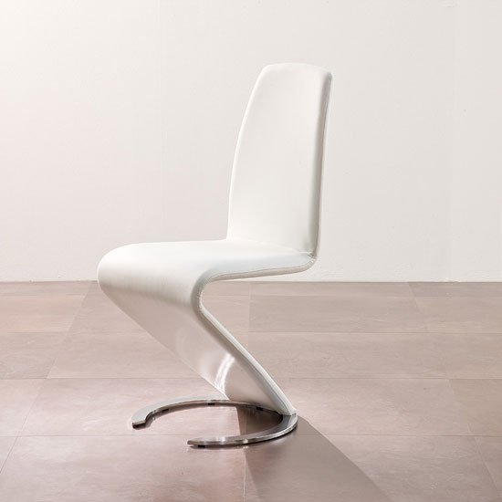 Swing II Metal Swinging White Real Leather Dining Chair