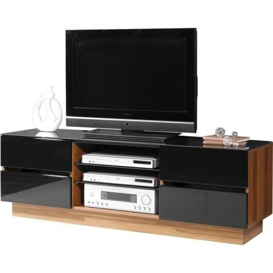 Read more about Stylish plasma tv stand in dark walnut with 4 drawers