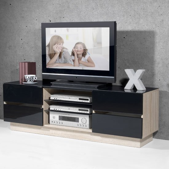 Corian LCD TV Stand In Canadian Oak With High Gloss Black Fronts