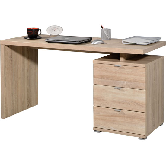 Wooden Computer Desk in Oak With 3 Drawers