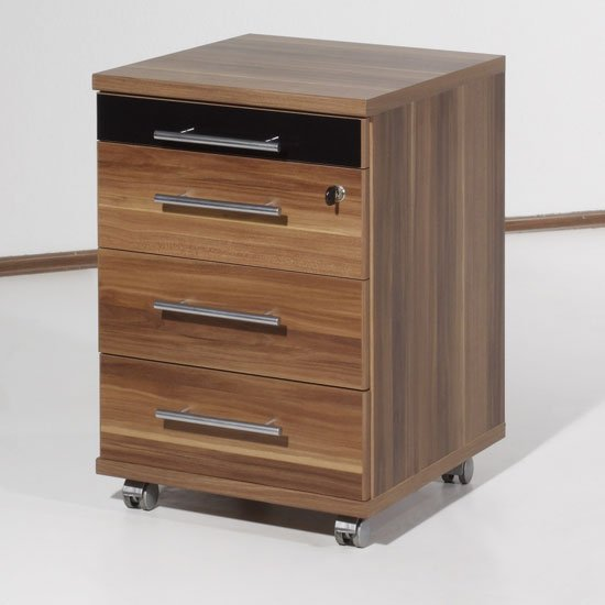 Master lockable walnut office cabinet