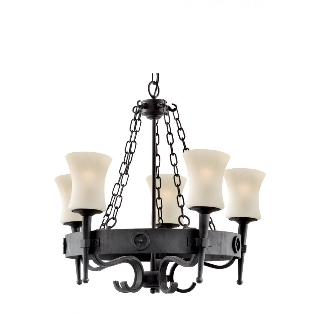 5 Light Cartwheel Wrought Iron Pendant