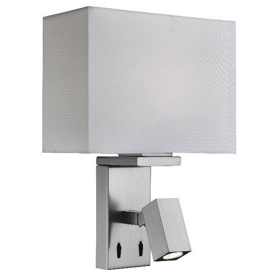 Classic Satin Silver Wall Light With Led Reading Light