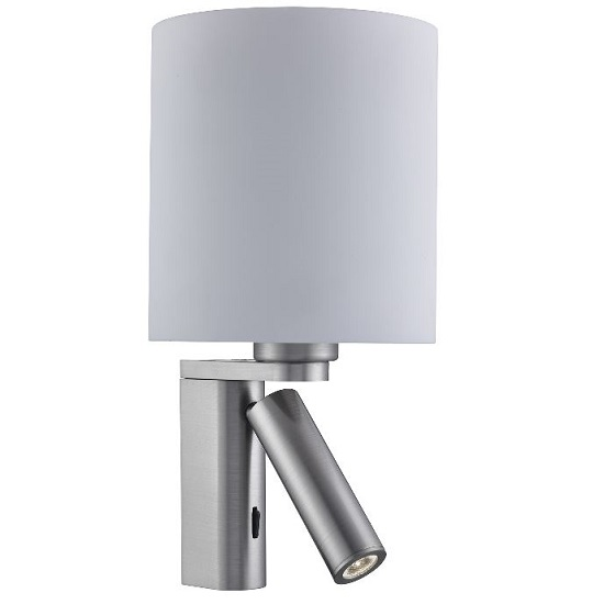 Satin Silver Wall Light With Led Reading Light