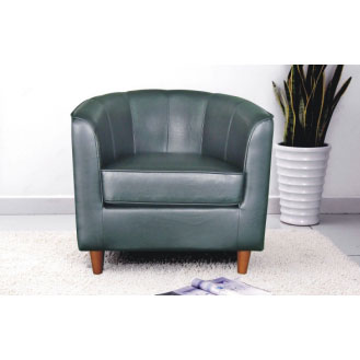 Panama Black Faux Leather Tub Chair
