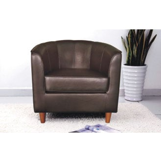Panama Brown Faux Leather Tub Chair