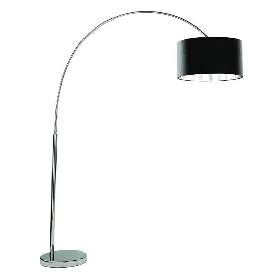 Arcs Chrome Floor Lamp With Black Fabric Shade And Silver Liner