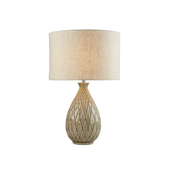 Cadence Neutral Ceramic Base In Hessian Shade Table Lamp