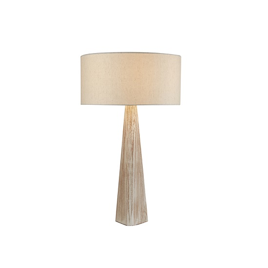 Bark Wash Brown Base Oatmeal ShadeTable Lamp