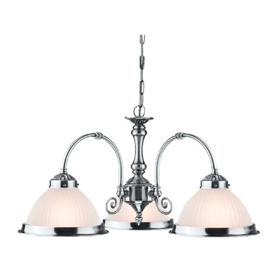 American Diner 3 Arm Satin Silver Ceiling Light