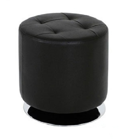 Julie Large Stool Round In Black Faux Leather