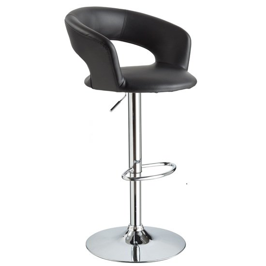 Fiona Bar Stool In Black Faux Leather With Chrome Base