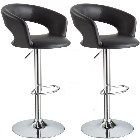 Fiona Bar Stools In Black Faux Leather in A Pair
