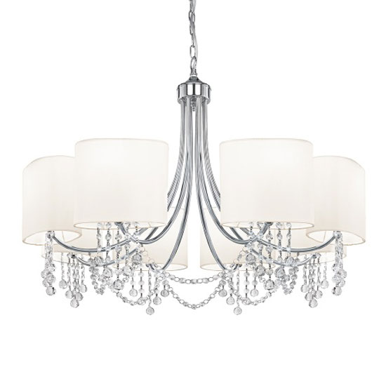 Multi Arm Chrome With White Fabric Shades Ceiling Light