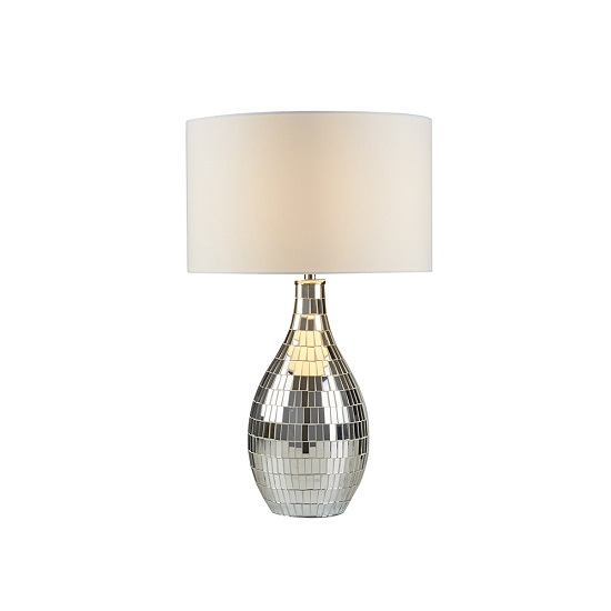 Clayton Mirror Tiled Base In White Shade Table Lamp_1